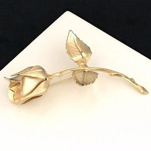 Vintage Giovanni Rose Pin Gold Tone 2A